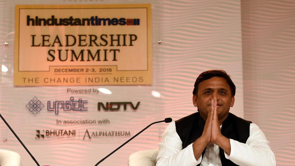 Uttar Pradesh chief minister Akhilesh Yadav at the 14th Hindustan Times Leadership Summit in New Delhi on Friday.
