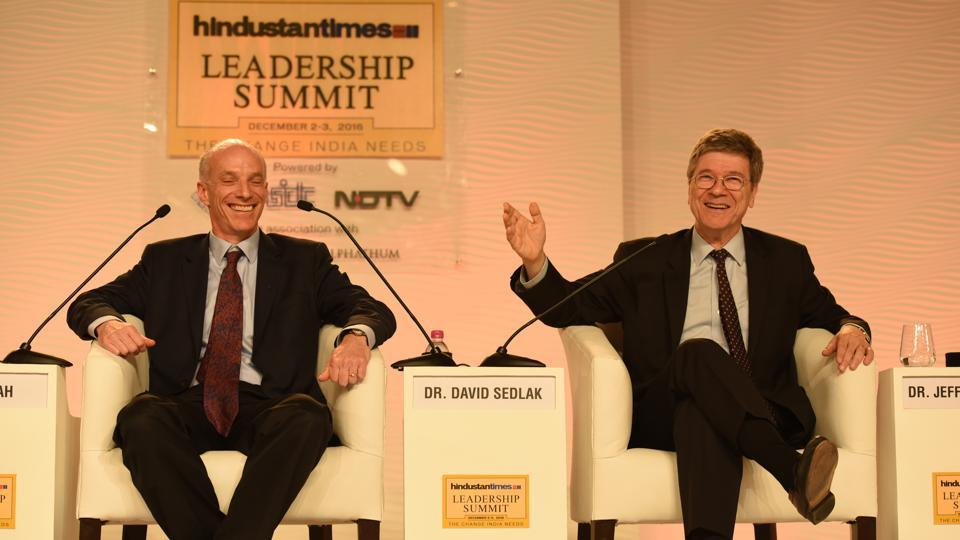 Dr. David Sedlak, Malozemoff Professor in the department of civil and environmental engineering at UC Berkeley and Dr. Jeffrey Sachs, university professor, Columbia University during Hindustan Times Leadership Summit at Taj Palace, in New Delhi.
