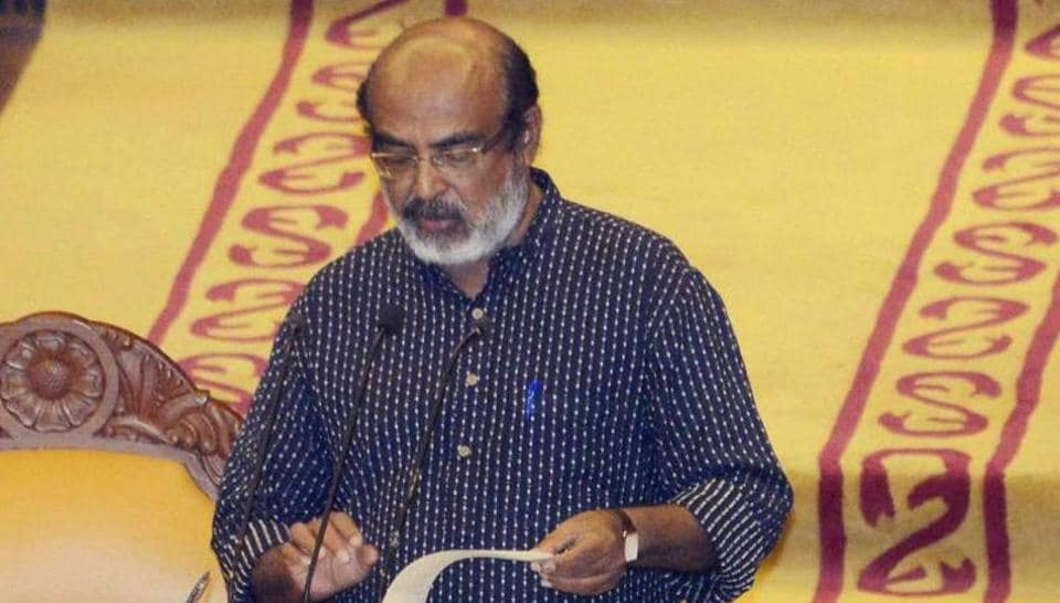 Finance Minister Thomas Issac presents the first budget of CPI(M)-led LDF government in Kerala Assembly in Thiruvananthapuram on Friday.