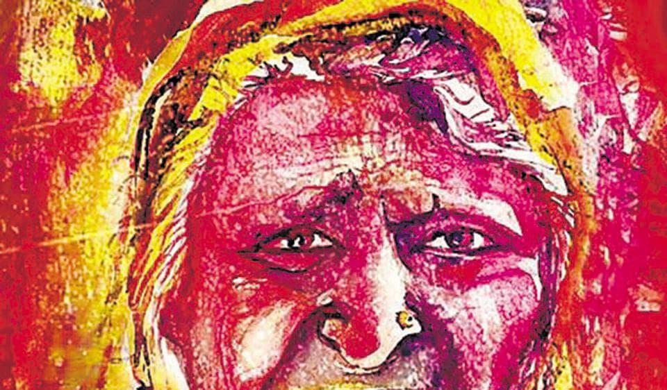 A painting on Bhopal gas tragedy by Kokila Bhattacharya
