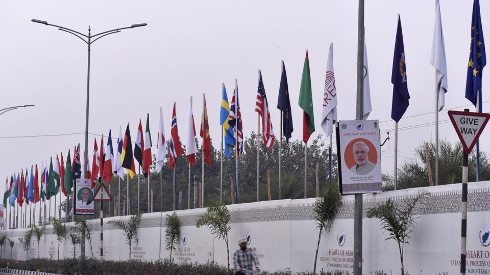 Flags of different countries installed outside the venue of Heart of Asia conference in Amritsar.