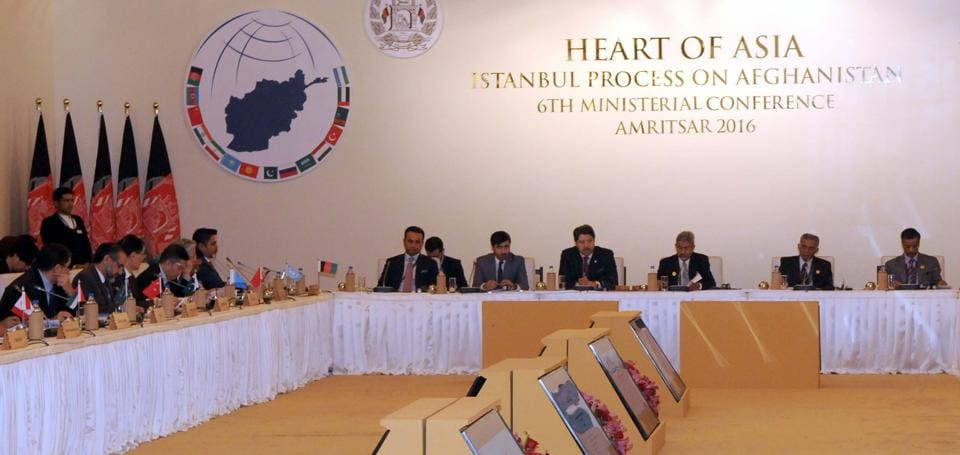 Delegates from participating countries during the Heart of Asia meet in Amritsar on Saturday (HT Photo)