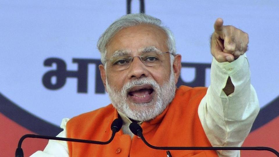 Prime Minister Narendra Modi addresses a rally in Moradabad, Uttar Pradesh.