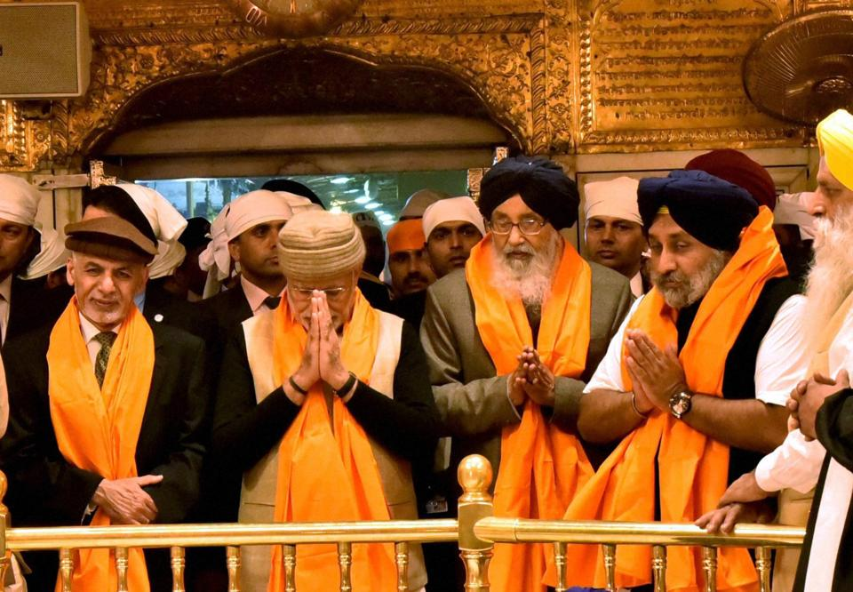 Modi's visit to the Golden Temple is seen by some as an attempt to connect with the Sikh community ahead of elections in the state next year. (PTI)