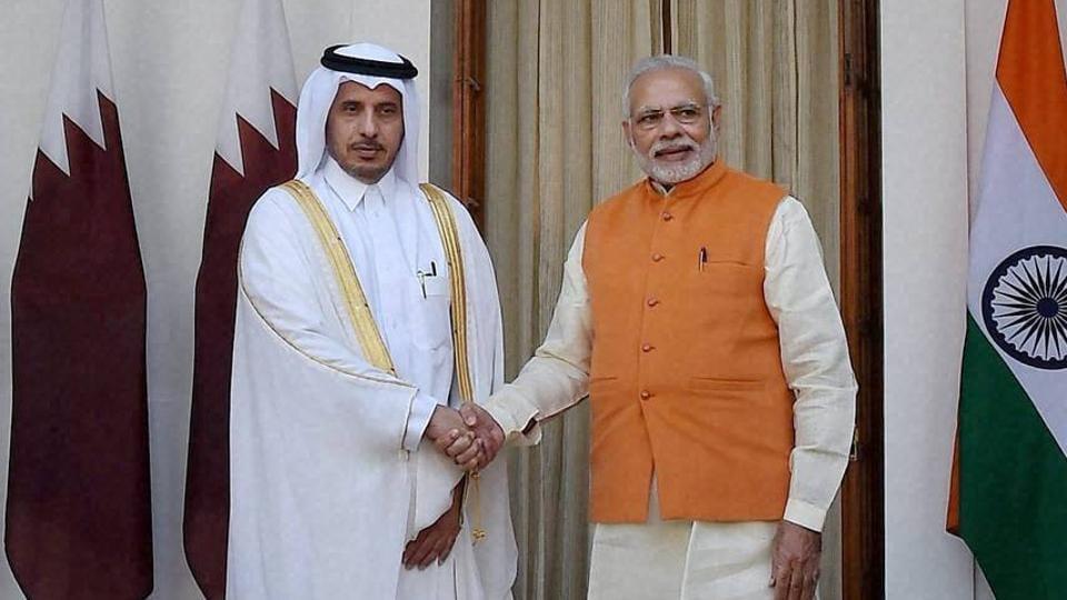 Prime Minister Narendra Modi greets Qatar Prime Minister Sheikh Abdullah bin Nasser bin Khalifa Al Thani at Hyderabad House in New Delhi.