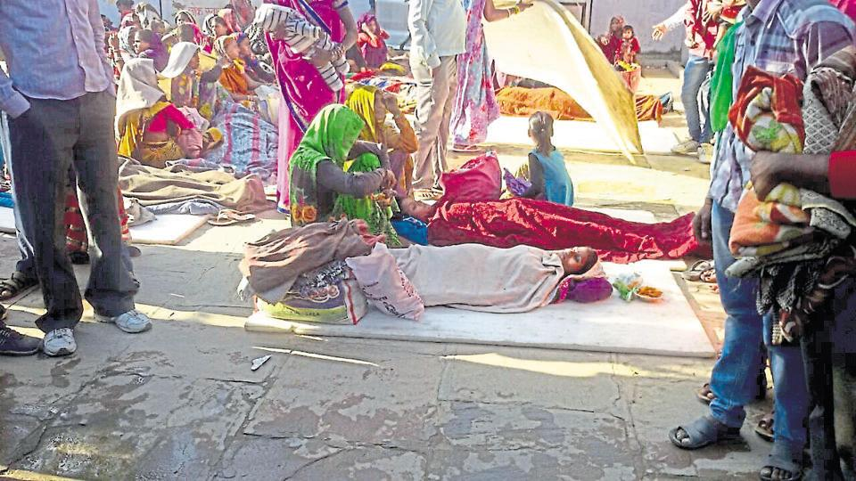 Women were forced to lie on floor during a sterilisation camp held recently at Prithvipur  community health centre.