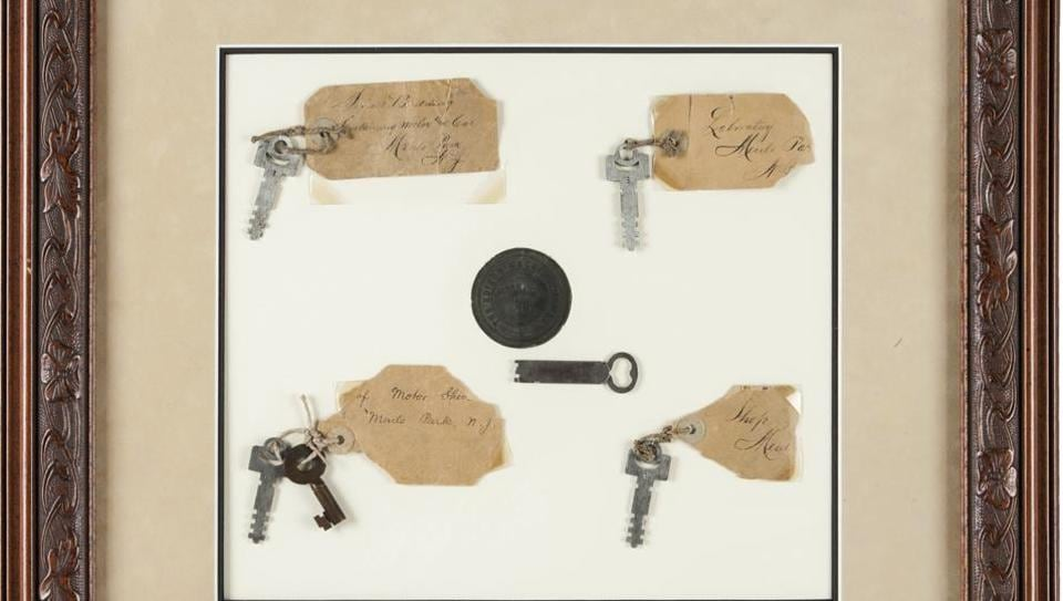Six keys from the famous inventor's Menlo Park home and work place will be auctioned on Saturday, December 3.