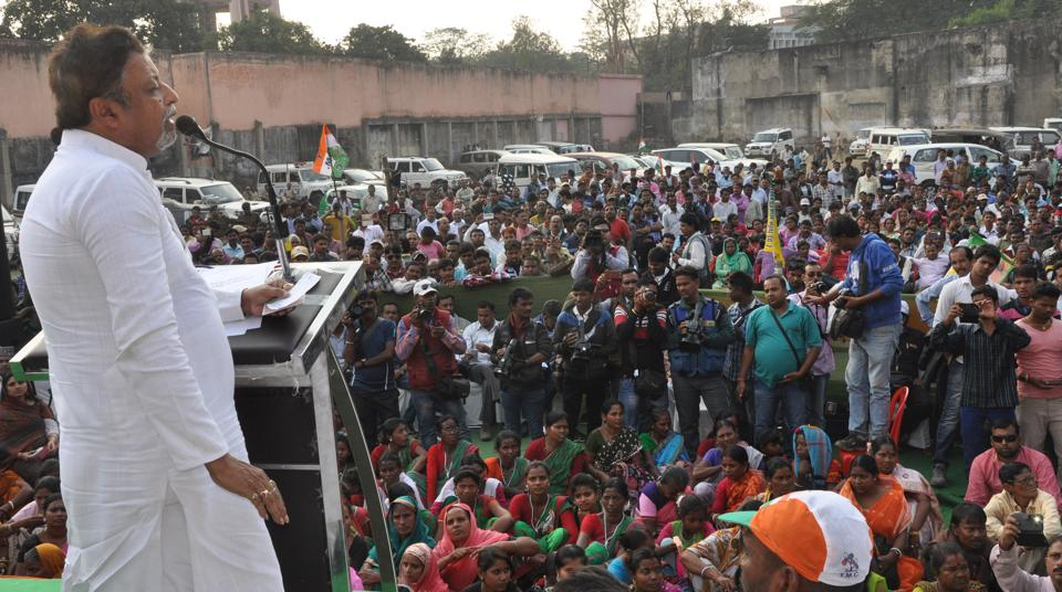 TMCRajya Sabha member  Mukul Roy addressing a rally to protest against demonetisation  at Dhanbad on Saturday.
