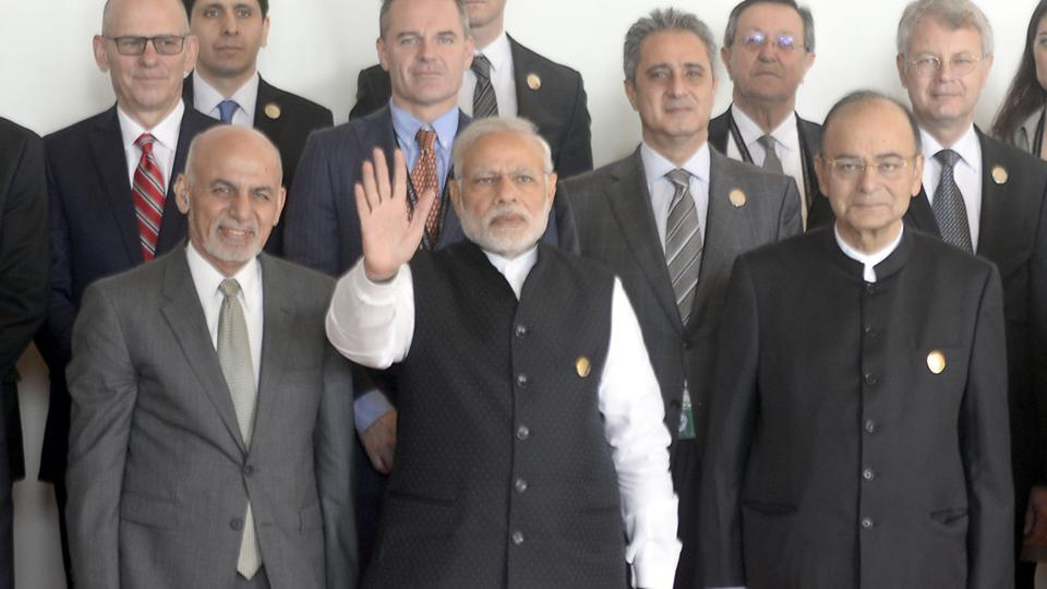Prime Minister Narendra Modi along with Afghan President Ashraf Ghani and Union finance minister Arun Jaitley and other delegates during the inaugural session of Heart of Asia - Istanbul process on Afghanistan in Amritsar on Sunday.