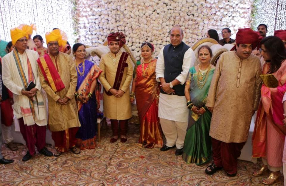 Union home minister Rajnath Singh (fourth from right)attends the wedding of Aditya and Ketki, daughter of Union minister Nitin Gadkari, in Nagpur on Sunday.