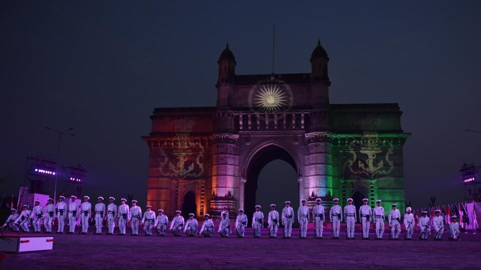 Navy personnel perform during Navy Day celebration at Gateway of India. (Pratham Gokhale/HT PHOTO)