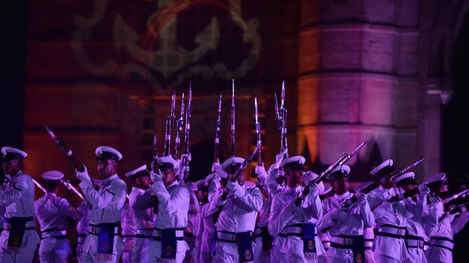 Navy personnel perform during Navy Day celebration at Gateway of India in Mumbai. (Pratham Gokhale/HT PHOTO)