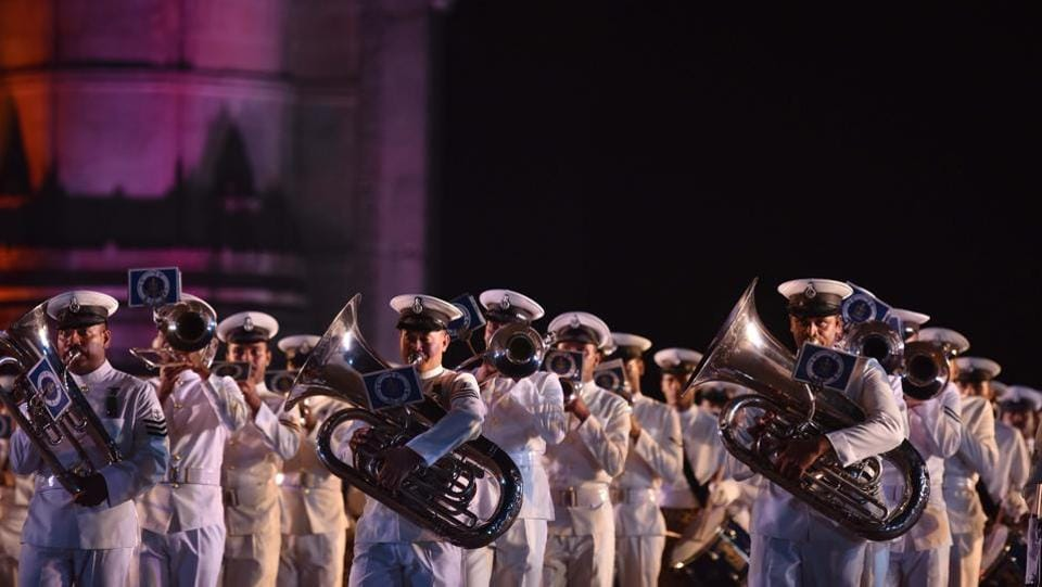 Navy band performance during Navy Day celebration at Gateway of India. (Pratham Gokhale/HT PHOTO)