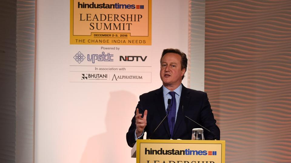 Day 2 of the Hindustan Times Leadership Summit 2016 kicked off with a session with UK's former PM David Cameron in New Delhi on Saturday. (Gurinder Osan/HT PHoto)