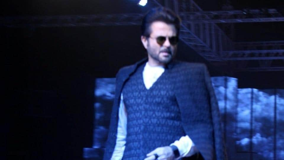 Anil Kapoor displays the creation of fashion designer Kunal Rawal. (IANS)