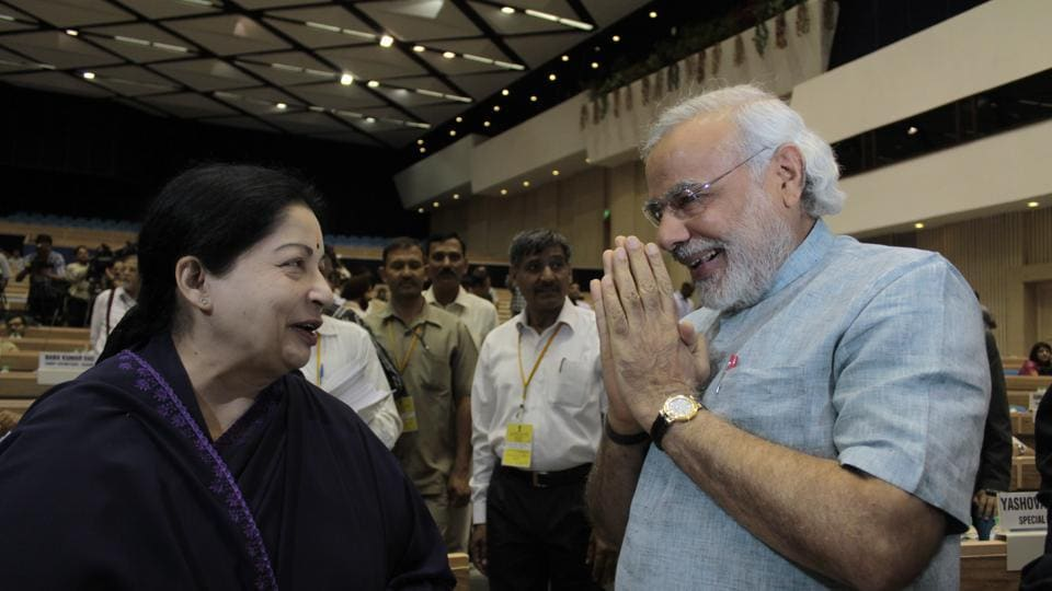 In this May 5, 2012 file photo, then Gujarat CM Narendra Modi and Jayalalithaa exchange greetings at the Meeting of Chief Ministers on National Counter Terrorism Centre (NCTC) in New Delhi.
