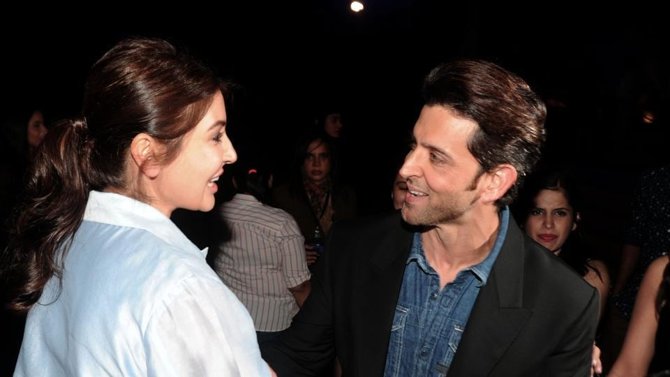 Bollywood actors Anushka Sharma and Hrithik Roshan attend the GQ Fashion Nights 2016 menswear fashion show in Mumbai on December 3. (AFP)