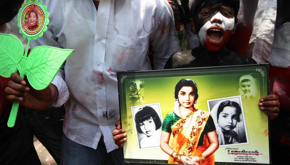 AIADMK supporters celebrate their parties victory in the 2011 state elections outside Jayalalithaa's Poes Garden House in Chennai on May 13, 2011. (HT File photo)
