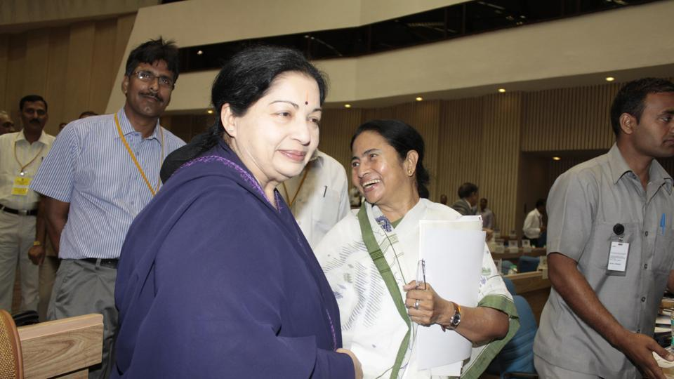 Jayalalithaa and West Bengal CM Mamata Banerjee at the Meeting of Chief Ministers on National Counter Terrorism Centre (NCTC) in New Delhi on May 5, 2012.