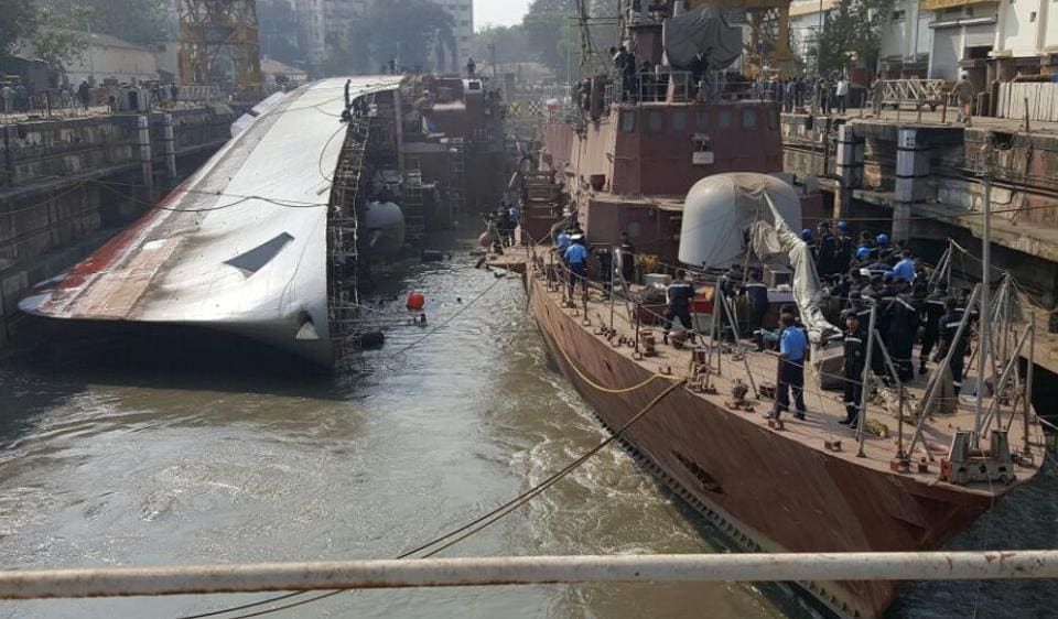 INSBetwa had toppled at the Naval Dockyard on Monday afternoon.