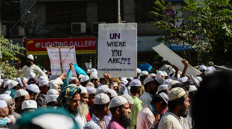 Bangladeshi activists from Islamic organisations march towards the Myanmar embassy in Dhaka on December 6, 2016, to protest against the persecution of Rohingya Muslims in Myanmar.