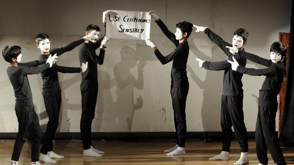 Students performing a mime during the golden jubilee celebrations of Blind and Deaf School at Safdipur village near Patiala on Tuesday, December 6. (Bharat Bhushan/HT)