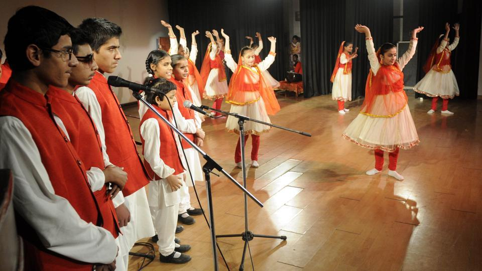 Students performing dance and song during the golden jubilee celebrations of Blind and Deaf School at Safdipur village near Patiala on Tuesday, December 6. (Bharat Bhushan/HT)