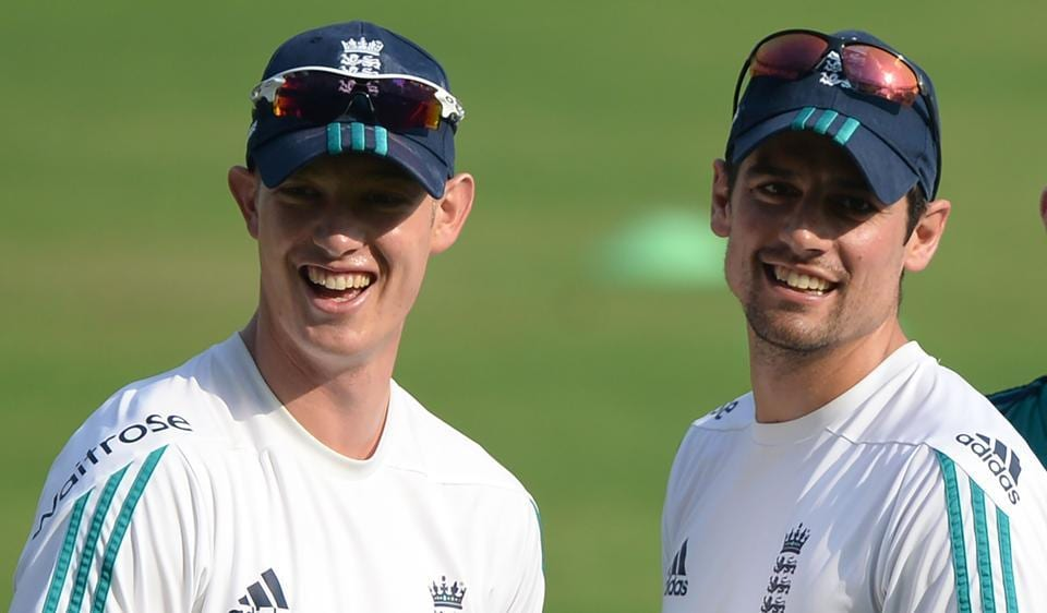 England's Keaton Jennings (L) and captain Alastair Cook during training on Tuesday. Keaton is set to partner Cook in the fourth Test against India that starts from Thursday.