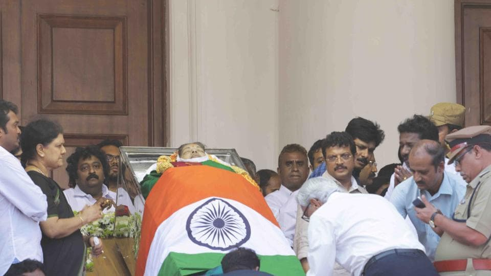 Sasikala and others from her family among supporters near the body of Tamil Nadu chief minister J Jayalalithaa at the Rajaji Hall in Chennai on Tuesday.