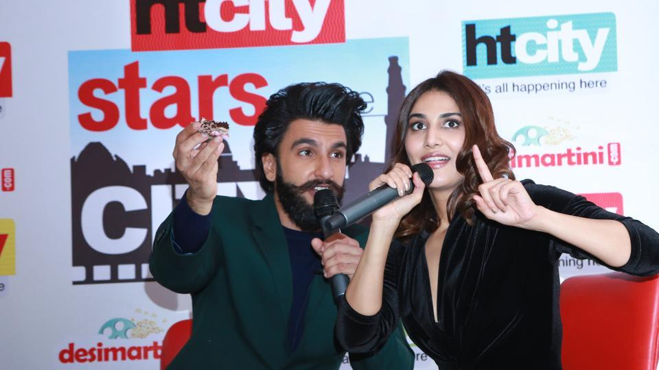 Ranveer Singh and Vaani Kapoor at Stars in the City. (AMAL KS /HT Photo)