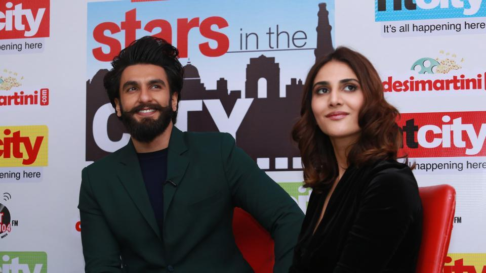 Bollywood actors Ranveer Singh and Vaani Kapoor visit HT house for Stars in the City.  (Amal KS /HT Photo)