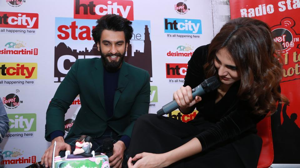 The  fans got a delicious Befikre-themed cake for the stars.  (AMAL KS /HT Photo)