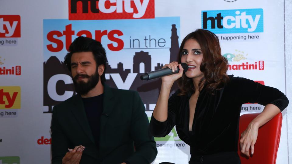 Ranveer continues with his antics as Vaani tries to answer questions from fans. (AMAL KS /HT Photo)