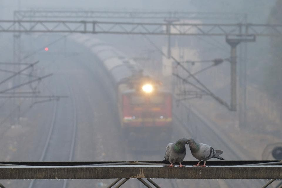 A train travels through dense fog at near a railway station in the Indian city of Amritsar on December 1.