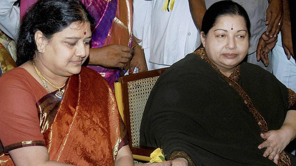 In this file photo AIADMK chief J Jayalalithaa with her close aide VK Sasikala. Jayalalithaa, 68, passed away at Chennai's Apollo Hospital on Monday after suffering a cardiac arrest.