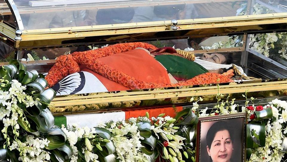 The mortal remains of former Tamil Nadu chief minister J Jayalalithaa carried during her funeral procession in Chennai on Tuesday.