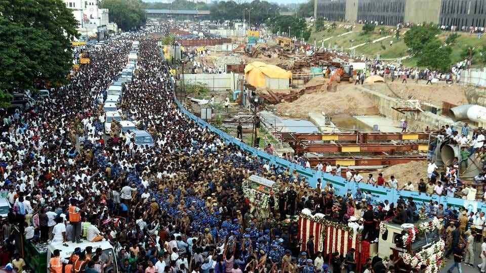 The final journey was lead by a rapid action force and Tamil Nadu police personnel who formed a human chain to protect the hearse from thousands of supporters who had come to pay their tributes.  (PTI)