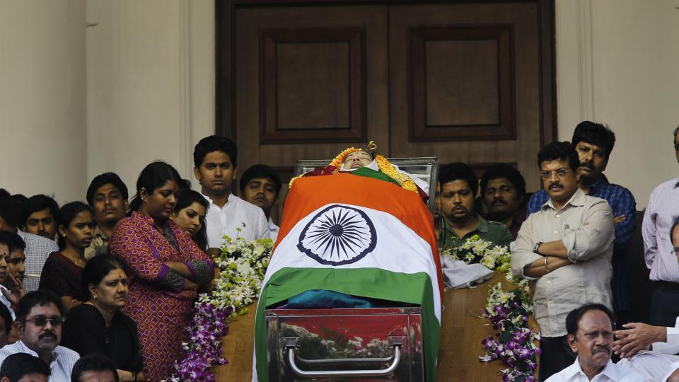 Former Tamil Nadu chief minister Jayalalithaa body in a tricolour-wrapped coffin for public viewing in Chennai.