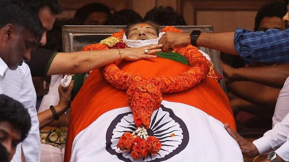 People pay homage to the body of late Tamil Nadu chief minister J Jayalalithaa Jayaraman, in Chennai.