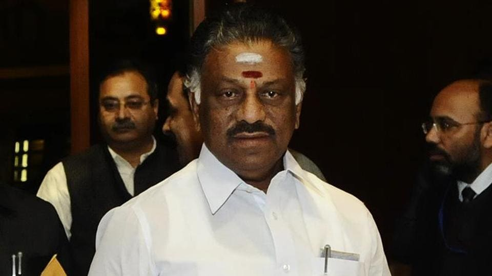 Tamil Nadu finance minister O Panneerselvam  at Hotel Ashok in New Delhi.