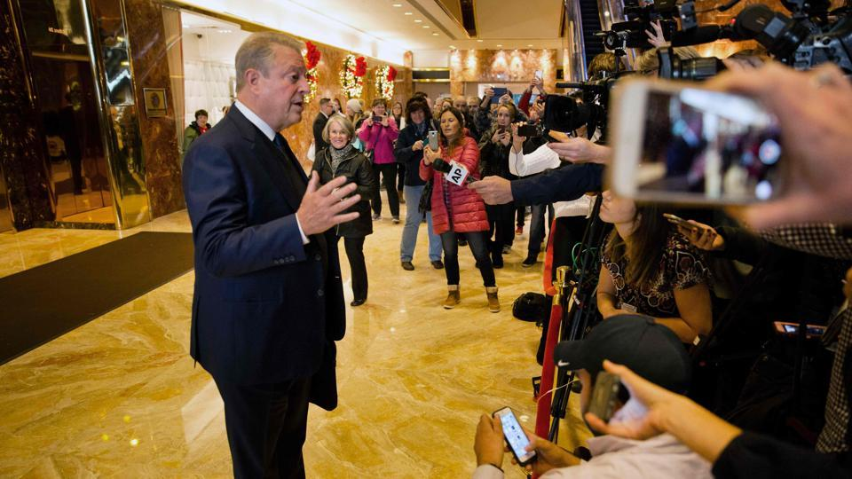 Former US vice president Al Gore, a leading campaigner for efforts to tackle climate change, speaks to reporters after a meeting with president-elect Donald Trump at Trump Tower in New York on December 5, 2016.