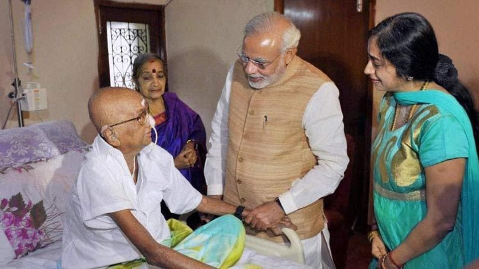 Prime Minister Narendra Modi with political commentator Cho Ramaswamy in August 2015.
