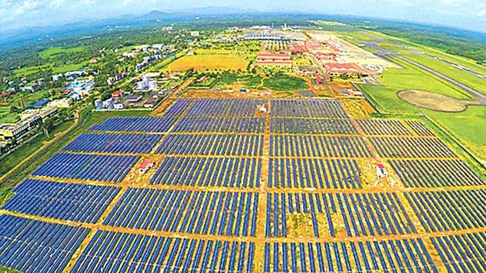 An Aerial View Of The Solar Park At The Kochi Airport. Last Week, A