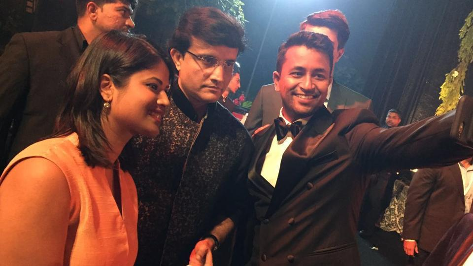 Pragyan Ojha taking a selfie with Sourav Ganguly at the wedding. (ht photo)