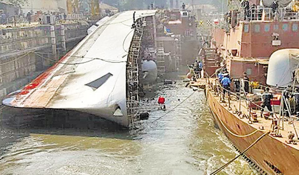 A day after INS Betwa, a guided missile frigate, tipped over during undocking at the Naval Dockyard, Navy chief Admiral Sunil Lanba on Tuesday visited the site to take stock of the damages. The accident killed two personnel and injured 14 others.
