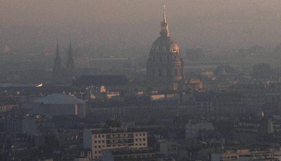 The Invalides dome is seen from the Generali balloon, which measures air quality as Paris suffers a pollution spike, Tuesday, Dec. 6, 2016.