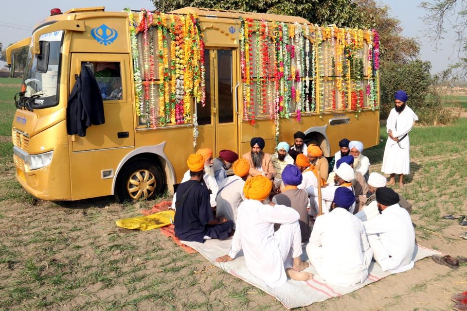 Sikh radicals performing 'akhand paath' at Talwanid Sabo near Bathinda on Tuesday.