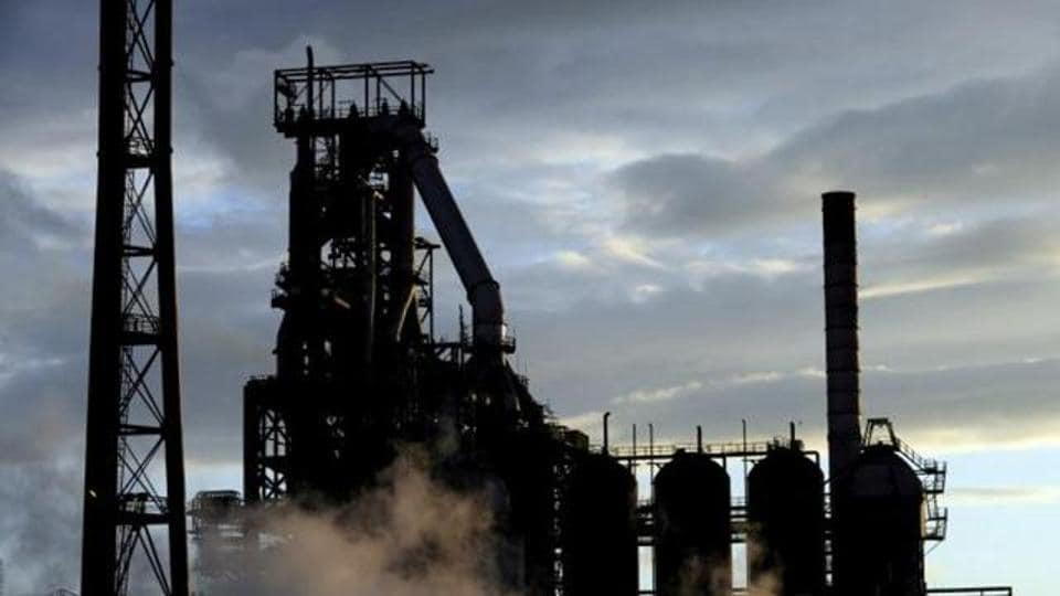 One of the blast furnaces of the Tata Steel plant is seen in Port Talbot, South Wales.
