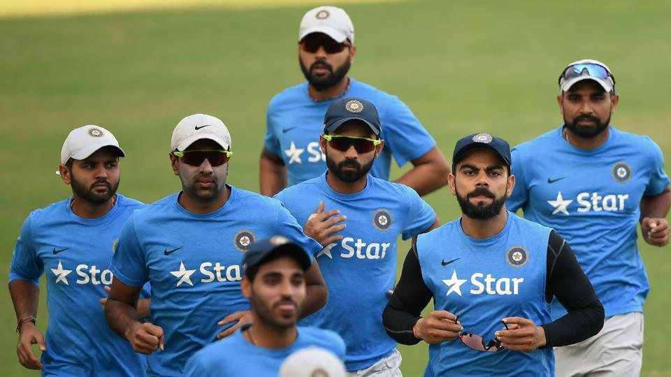 India captain Virat Kohli leads the team during warm up at the Wankhede stadium ahead of the fourth Test match against England.
