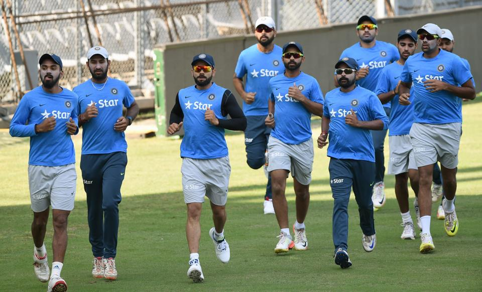 India's cricket team warm up during the training session at the Wankhede stadium ahead of the fourth test against England. (AFP)